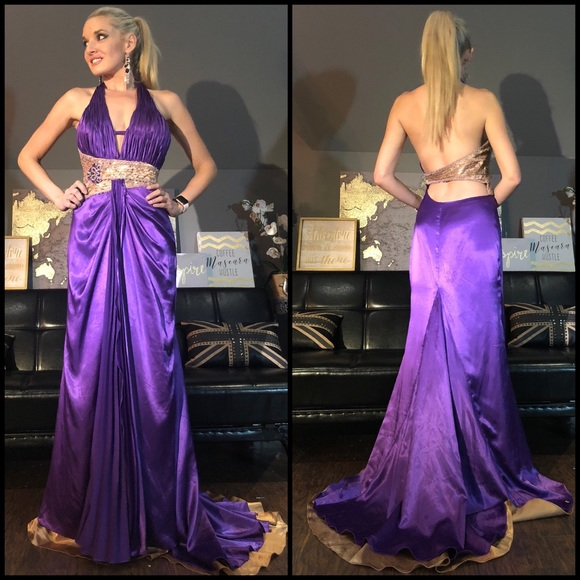 Party Time Formals Dresses Purple Gold Beaded Silk Prom Dress With